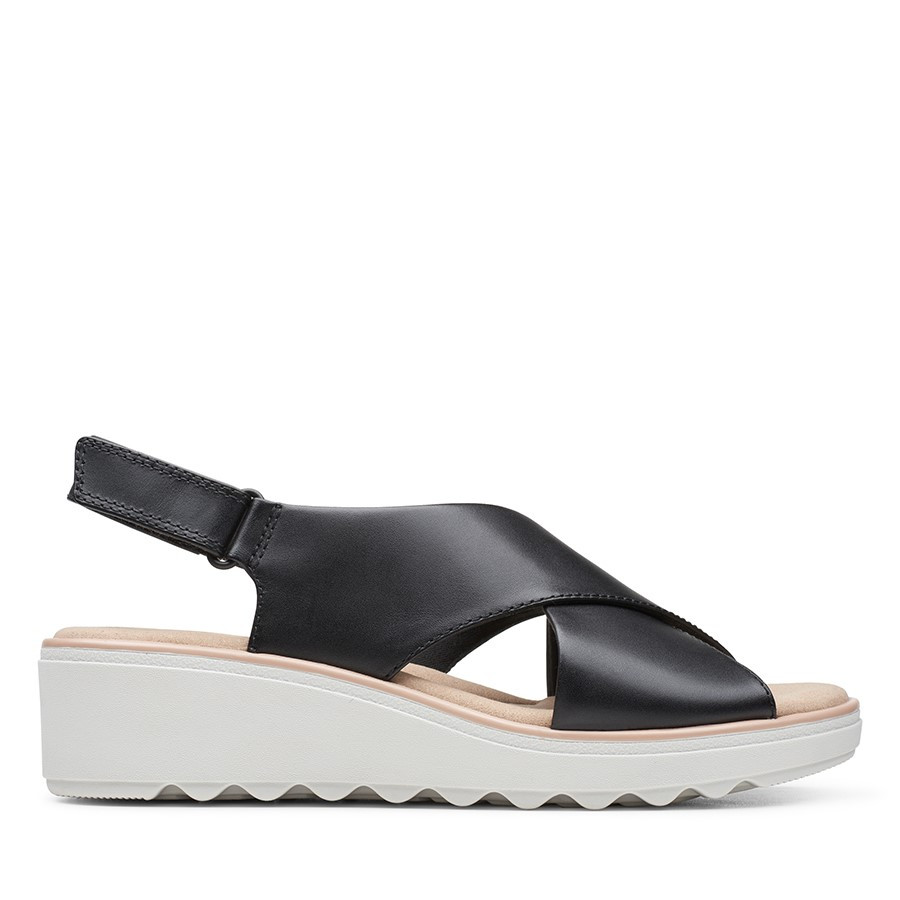 Clarks Jillian Jewel Black Leather/Textile Combo