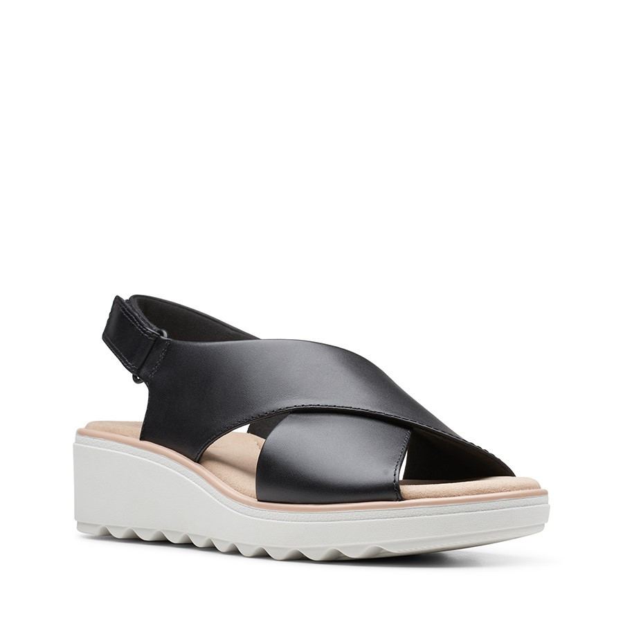 Clarks Jillian Jewel Black Leather/Textile Combo