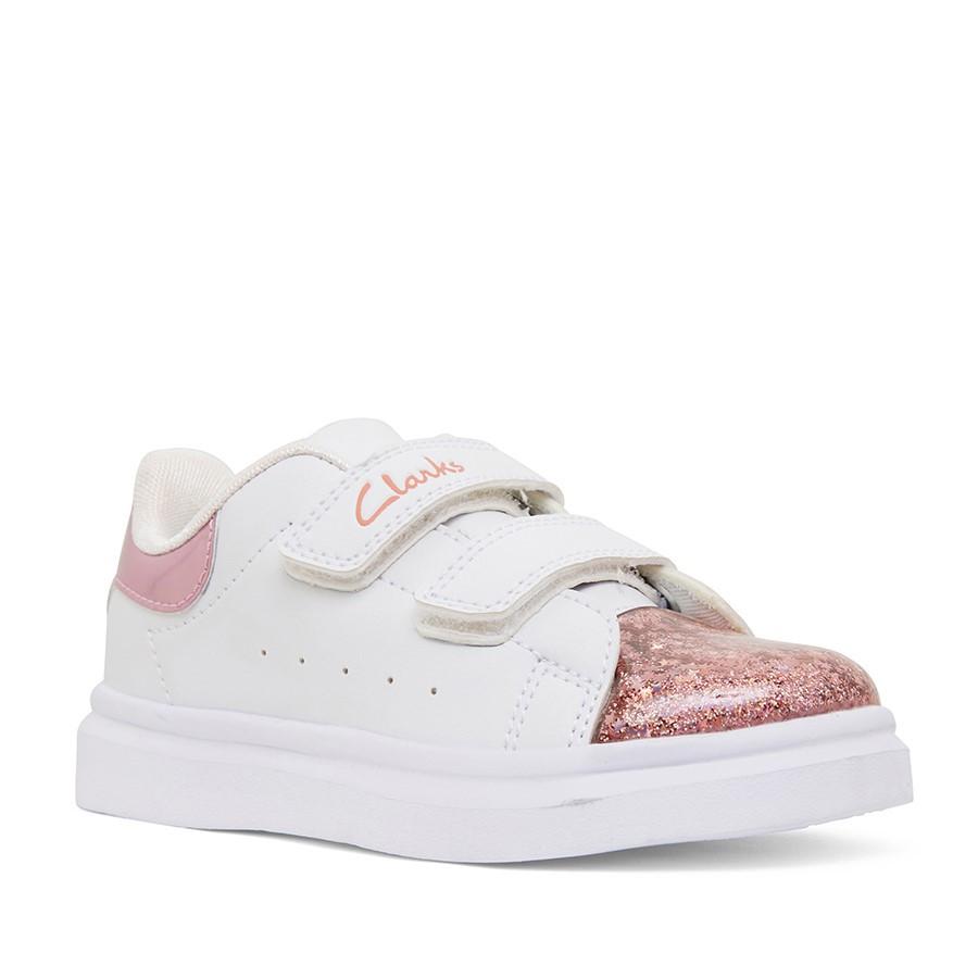 Clarks Queenie Jnr White/Pink