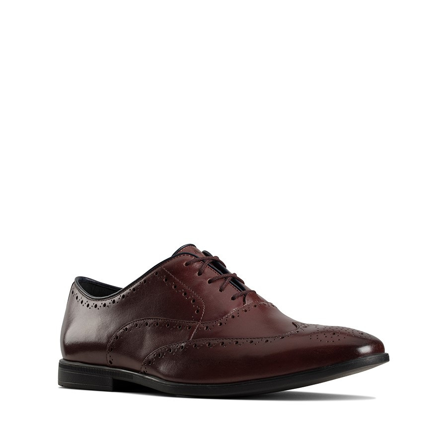 Clarks Bampton Rhodes Burgundy Leather