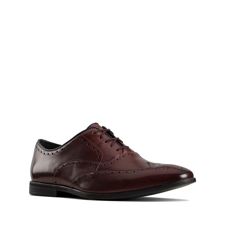 Clarks Bampton Rhodes Burgundy Leather