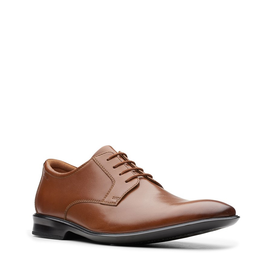 Clarks Bensley Lace Dark Tan Leather