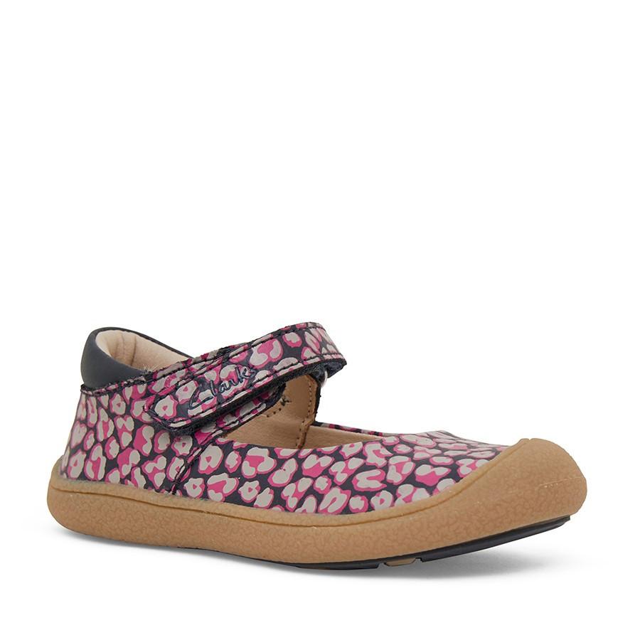 Clarks Kelsey Navy/Pink Leopard