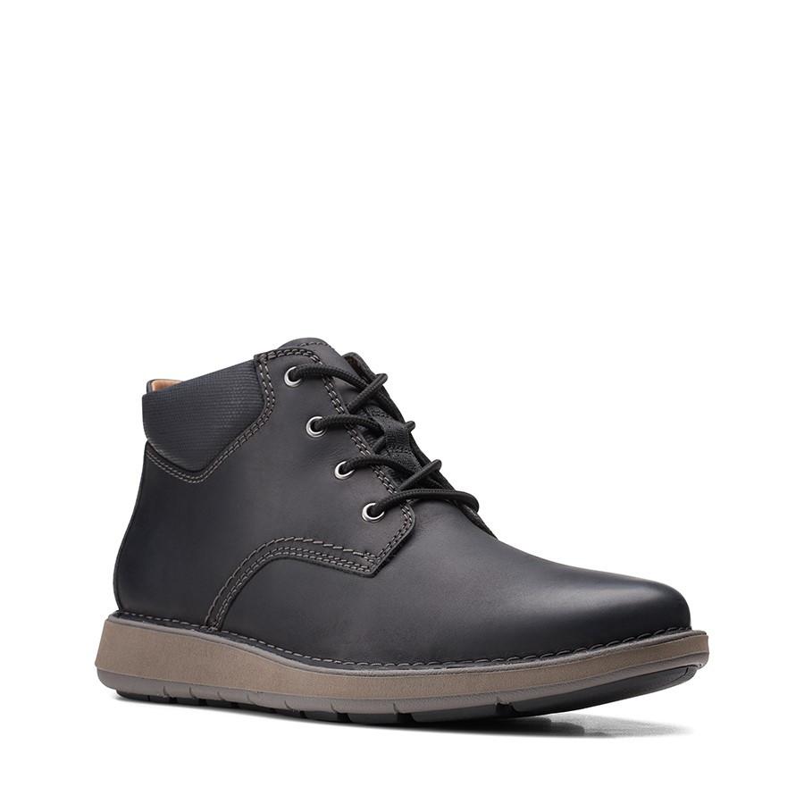 Clarks Un Larvik Top2 Black Oily Leather