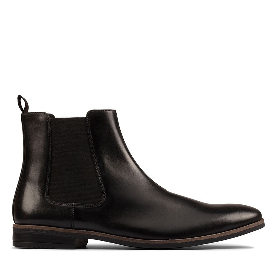 Clarks Stanford Top Black Leather