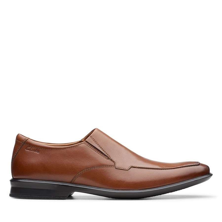 Clarks Bensley Step Dark Tan Leather