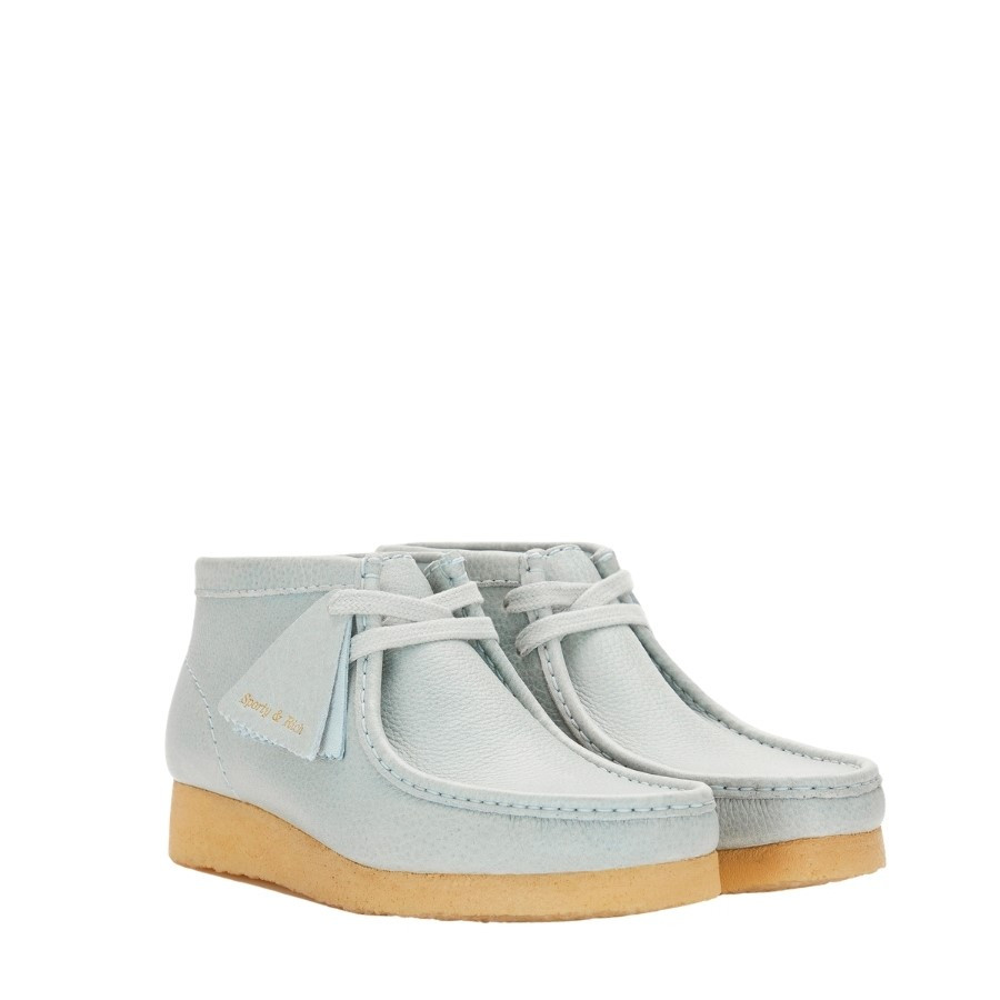 Clarks Wallabee X Sporty & Rich Light Blue Leather