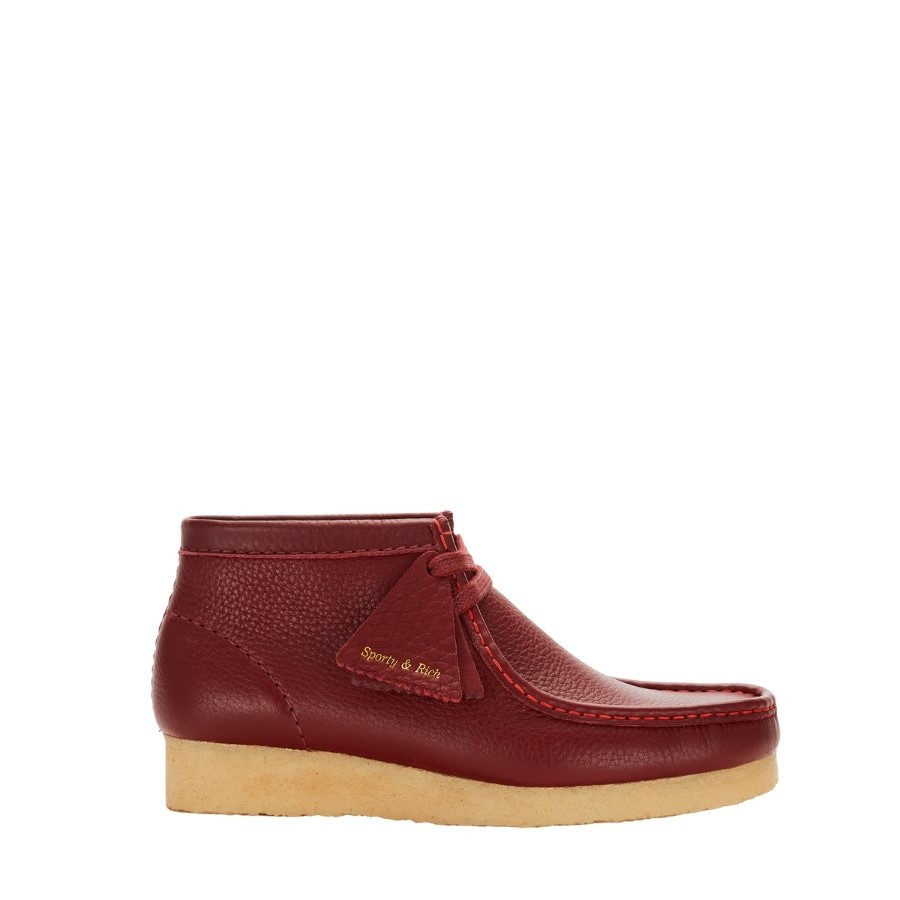 Clarks Wallabee X Sporty & Rich Burgundy Leather