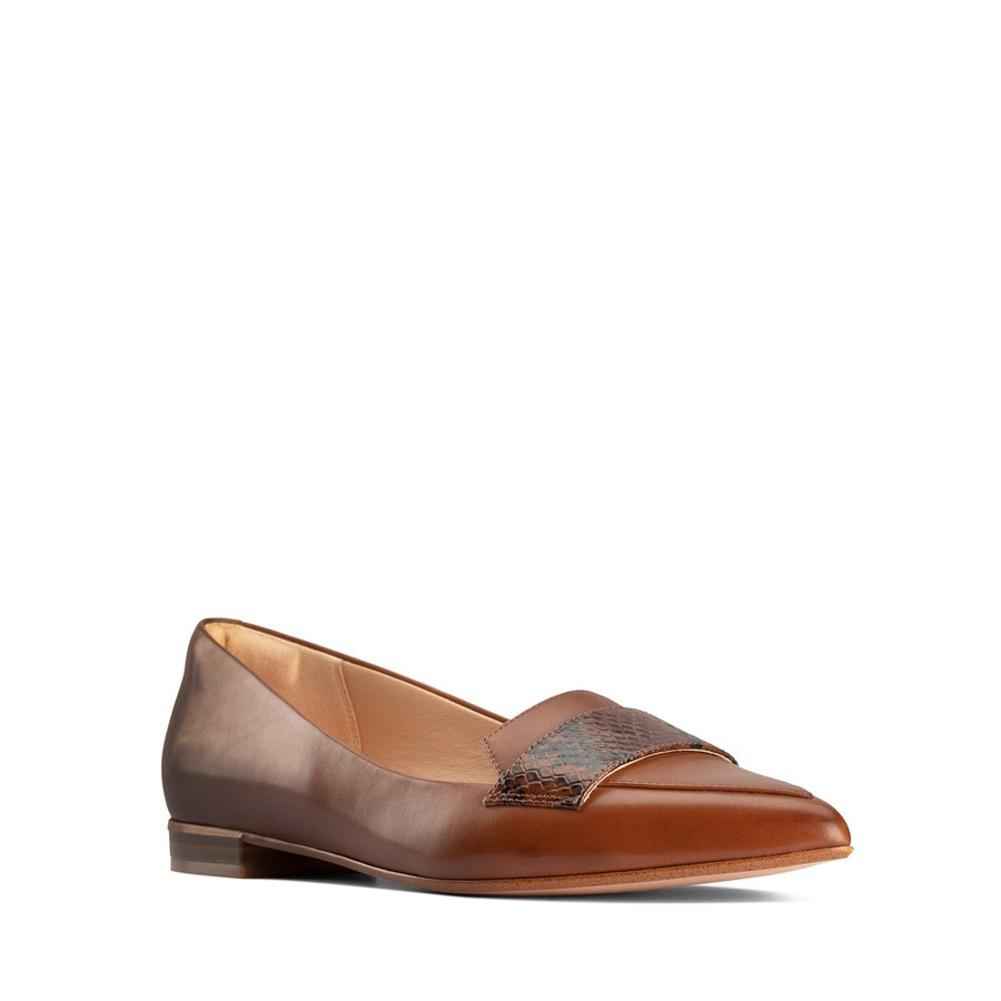 Clarks Laina15 Loafer2 Dark Tan Leather