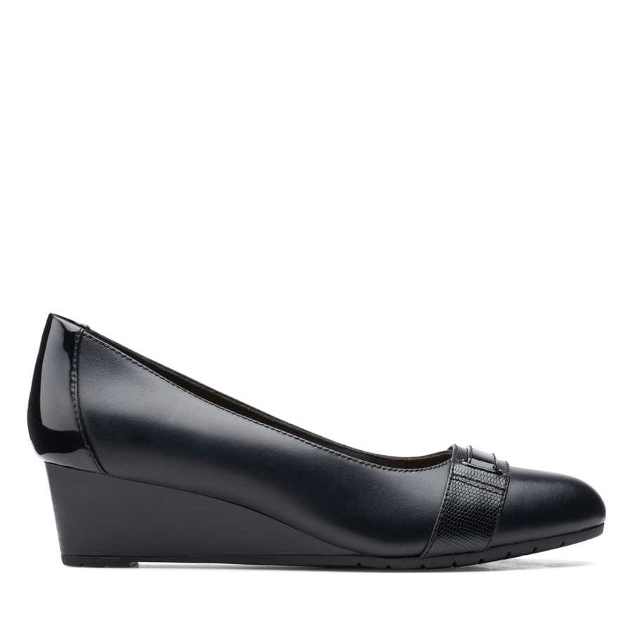Clarks Mallory Strap Black Leather
