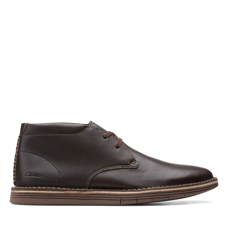Clarks Forge Stride Dark Brown Leather