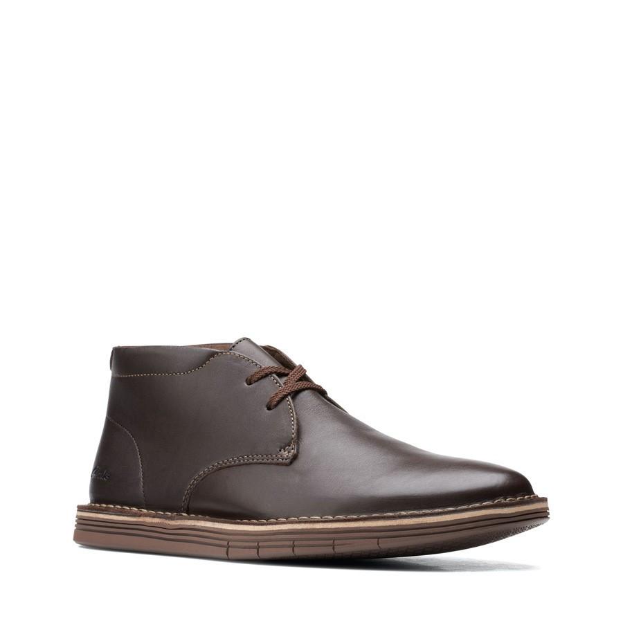 Clarks Forge Stride Dark Brown Leather