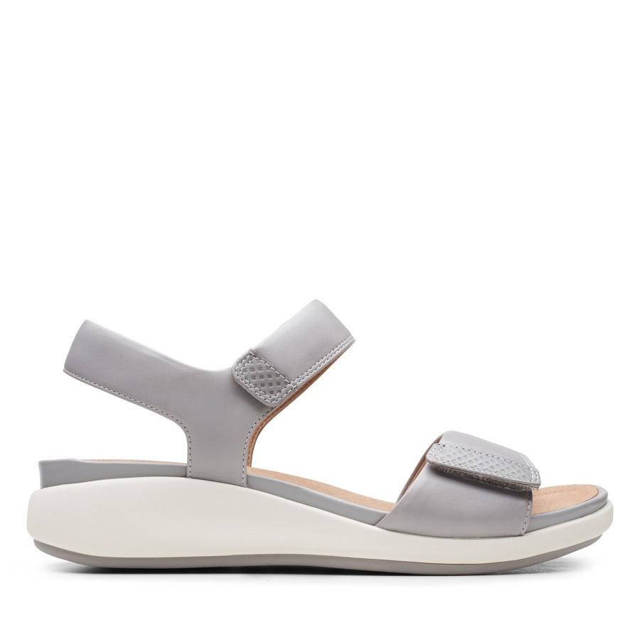 Clarks Un Bali Lane Light Grey Leather