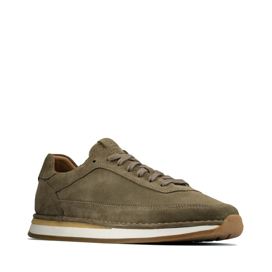 Clarks Craftrun Lace Mens Olive Suede
