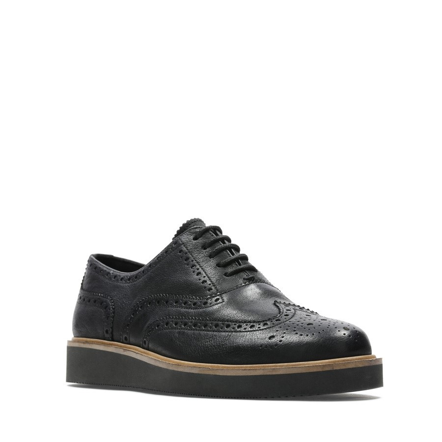 Clarks Baille Brogue Black Leather