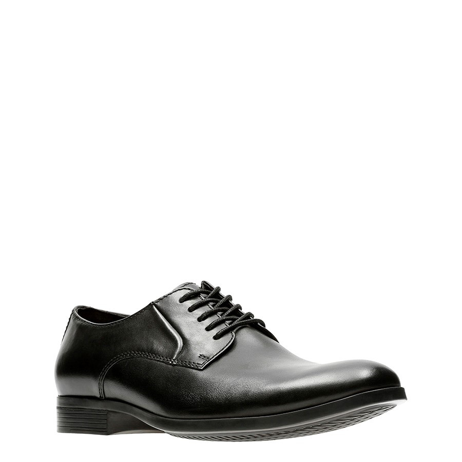 Clarks Conwell Plain Black Leather