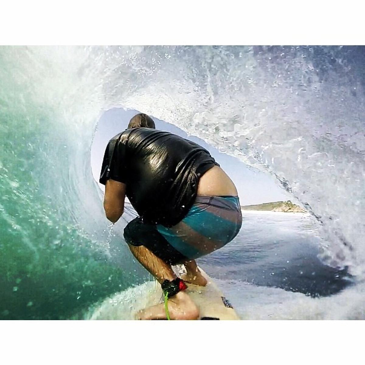 LUNASURF Alien 6ft 6mm Travel Surfboard Leash Black