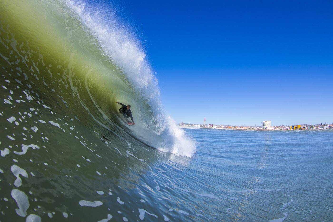 Timmy Turner riding the foamball on a Lunasurf thruster fin, Baja, Mexico. Pic: Damian Davila