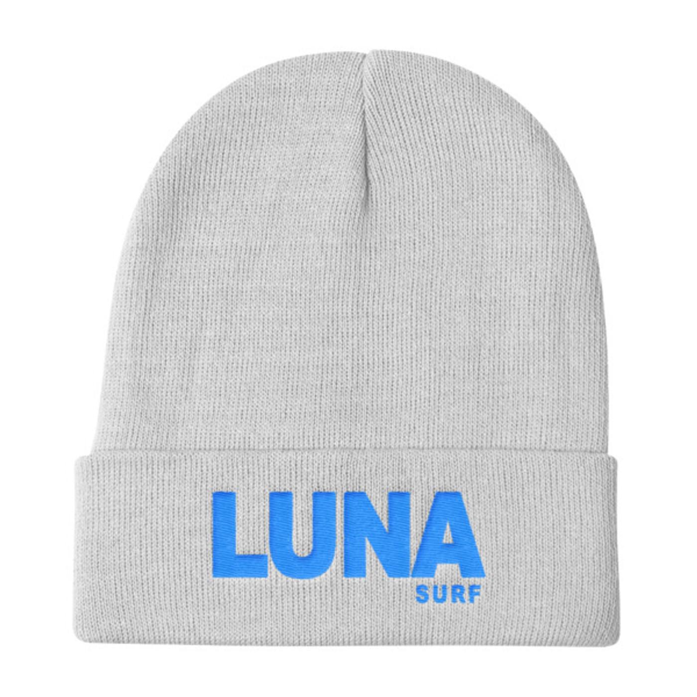 Luna text Electric Blue Knit Beanie