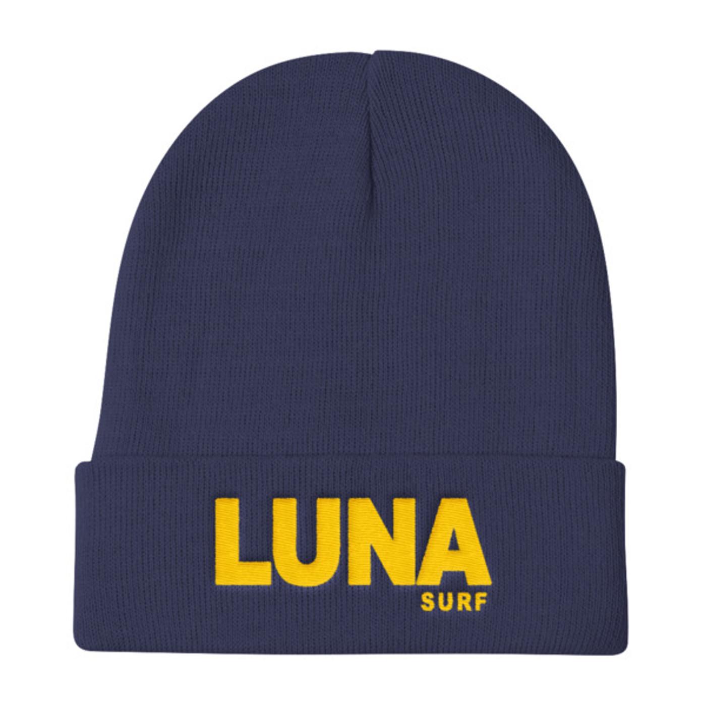 Luna text logo Gold Knit Beanie