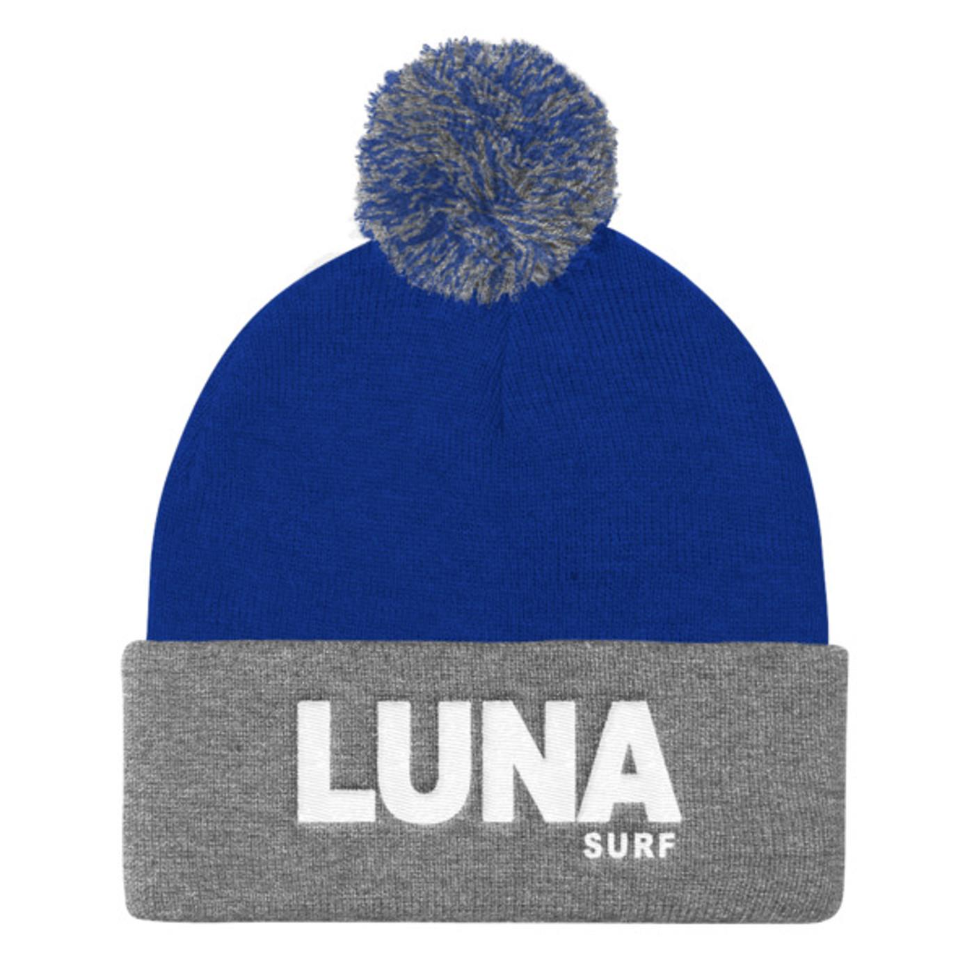Luna text white Pom Pom Knit Cap