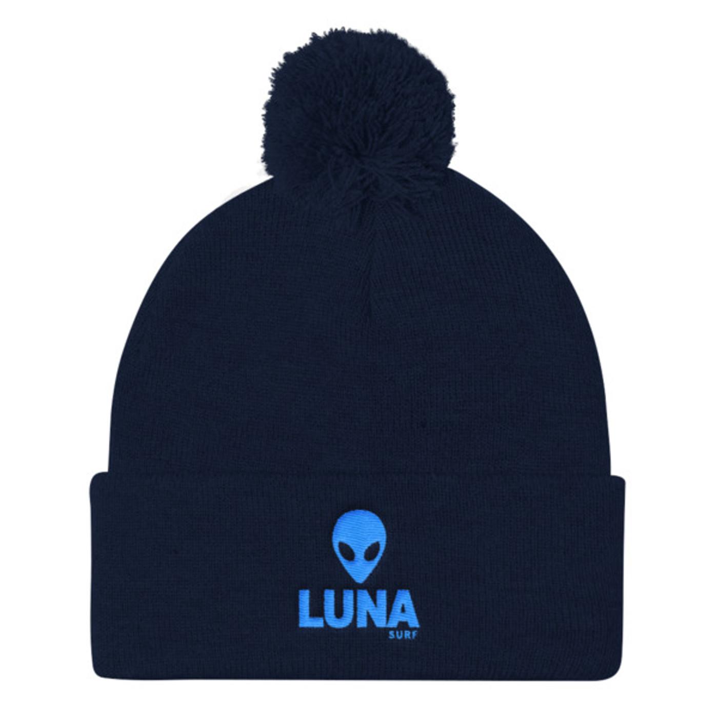 Alien Blue Pom Pom Knit Cap