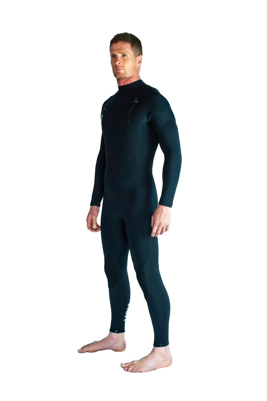 Lunasurf Mens 3.2mm Slant Zip Black Wetsuit