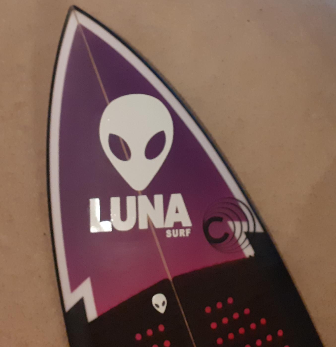 White Lunasurf Alien Head Logo Sticker