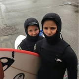 lunasurf_Scottish super groms Ben Larg and his sister Robyn in our Lunasurf Yamamoto 6.4mm hooded kids suits(unisex).