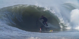 Tube riding legend Ryan Turner getting shacked on the 'signature Lunasurf thruster fin' - Huntington Beach, California.