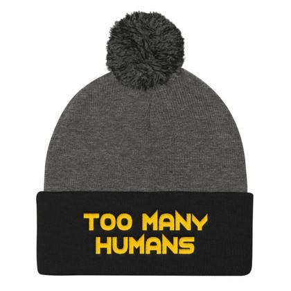 Too Many Humans Gold Pom Pom Knit Cap