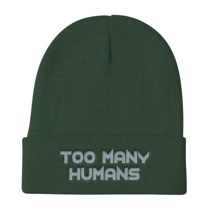 Too Many Humans Grey Knit Beanie