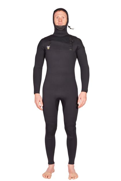 Lunasurf Mens 6.4mm Hooded Slant Zip Yamamoto Wetsuit without thermal lining