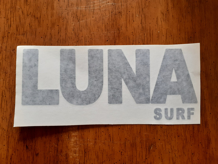 Luna surf text logo for boards. 20cm long.