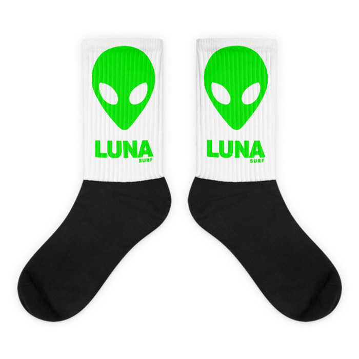 Green Luna Alien Head Logo socks