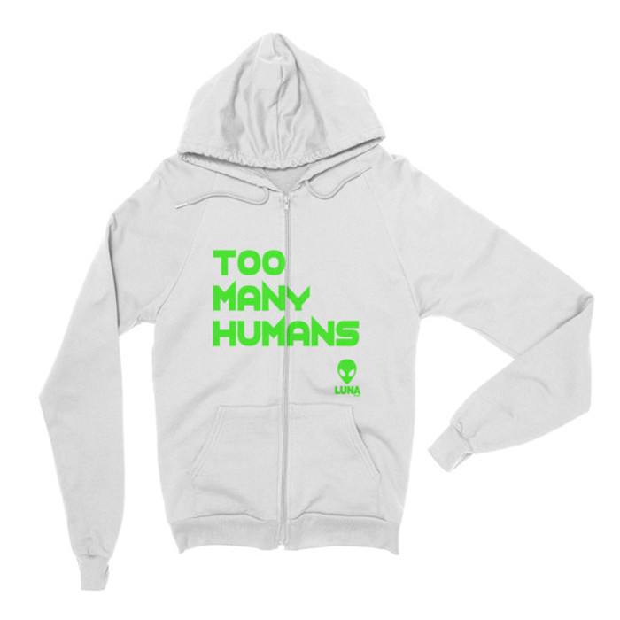 Too Many Humans Green Logo Zip Hoodie