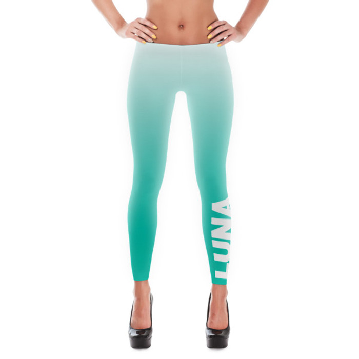 light green blue leggings