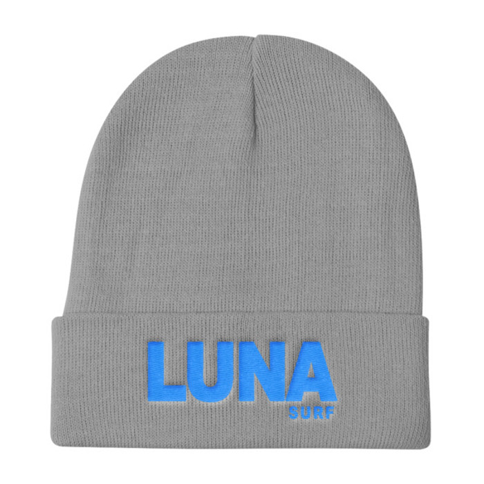 Luna text Electric Blue Knit Beanie