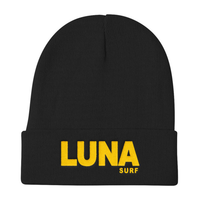 Luna text logo Gold Knit Beanie