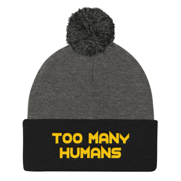 Too Many Humans Gold Pom Pom Knit Cap