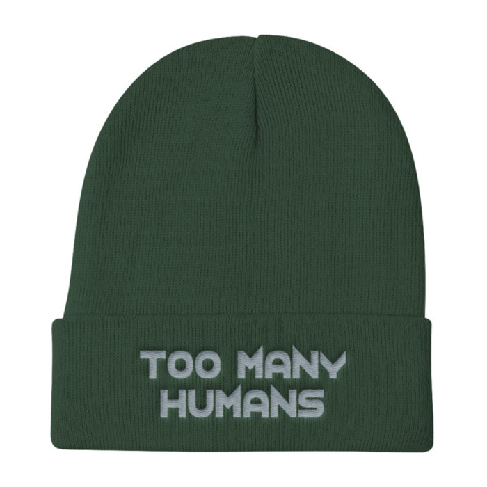 Too Many Humans Grey Knit Beanie