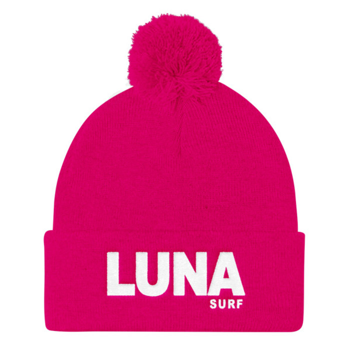 Luna text white Pom Pom Knit Cap