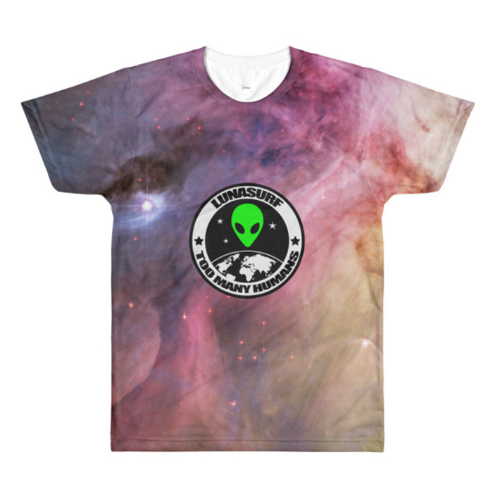 men's Nebula Too Many Humans crewneck t-shirt Magenta