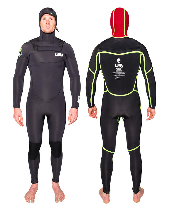 Lunasurf all 4mm hooded wetsuit Blindstitched, glued, taped. Thermal lined hood and lip warmer.
