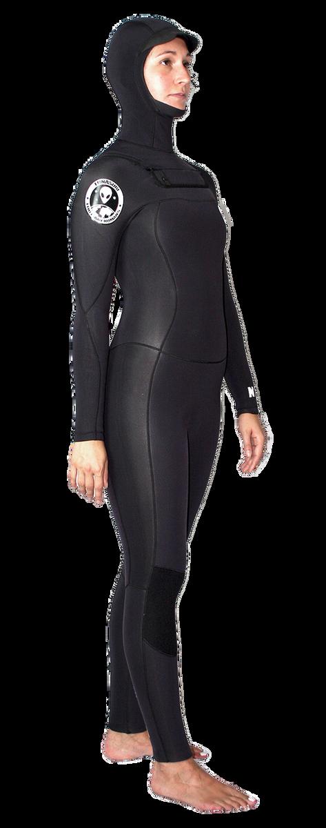 Lunasurf Womens Yamamoto 6.4mm Hooded Winter Wetsuit Arcane Black