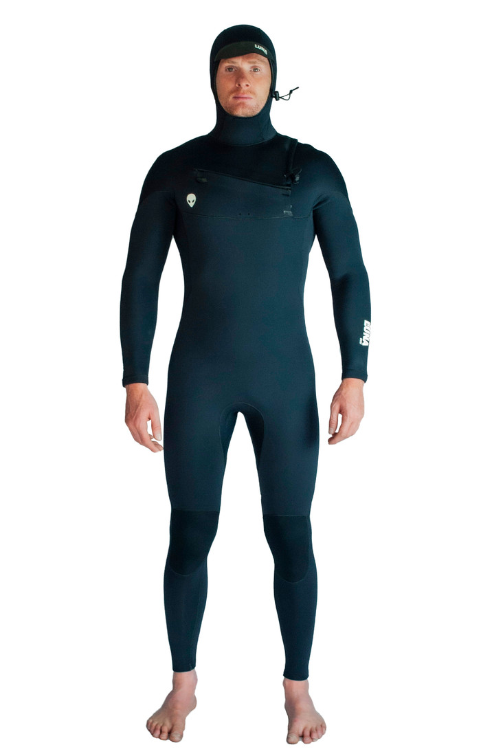 Lunasurf Mens all 4mm hooded wetsuit black