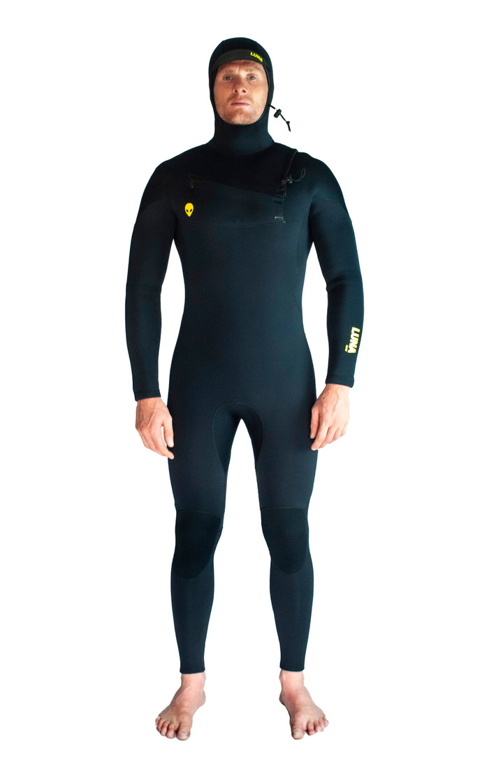Lunasurf Mens 6.4mm hooded wetsuit in all black