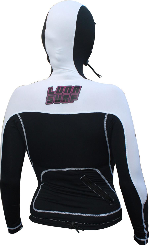 Lunasurf Womens Long Sleeved Hooded Indo Rashie White Black