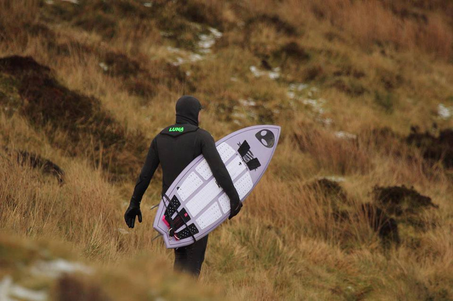 Lunasurf full deck grip - Alien 6 piece front foot traction pad in white and black 3 piece tailpad - Scotland.
