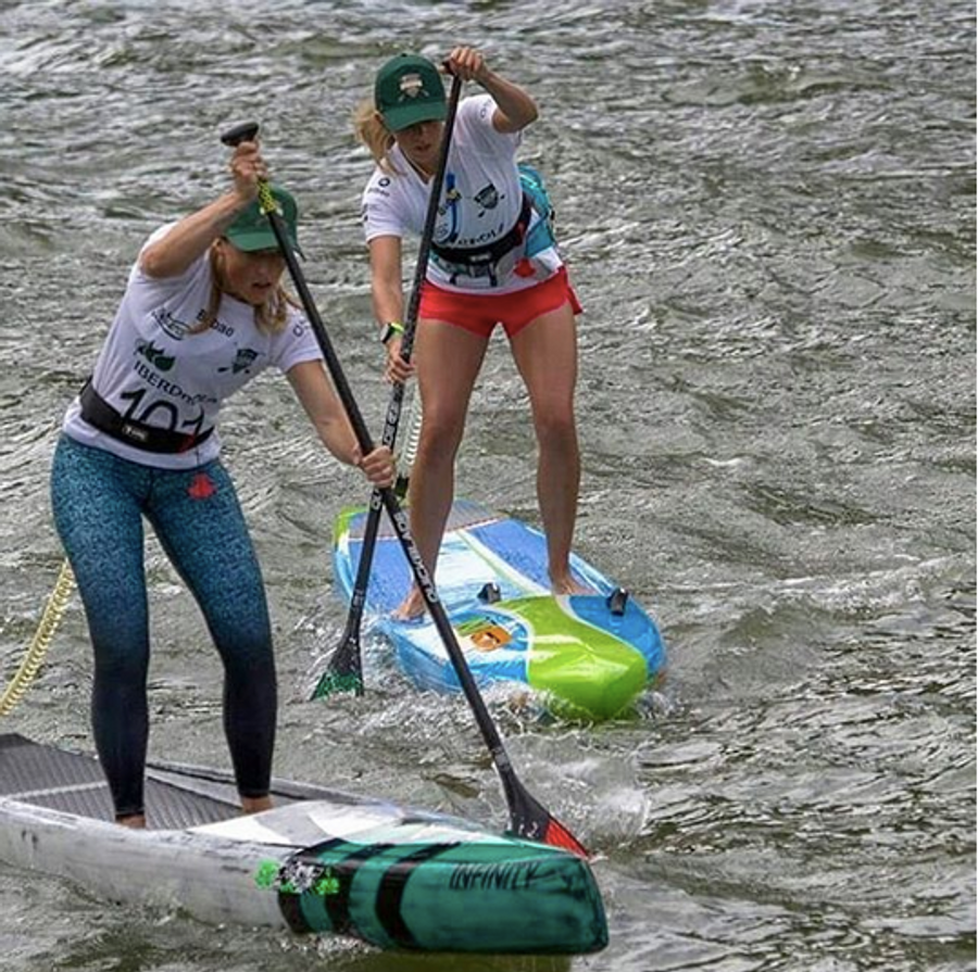 Verity Thomas  & Robin Allix  racing in the @bilbaoworldsupchallenge using Lunasurf SUP quick release waist belts with 10ft coiled Luna leash.